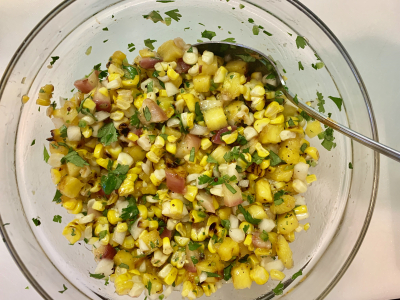Grilled Corn, Pineapple & Peach Salsa © 2019 Claudia Ward